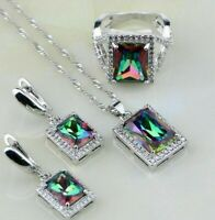 Shiny Square Mystic Rainbow Topaz Jewelry Set 925 Sterling Silver Multicolor