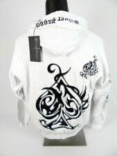 Mens SILVER DAGGER BRAND White Hoodie Jacket Silver Studded Spades Velvet Design