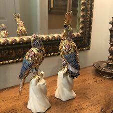 Cloisonne/Enamel Cockatoo And Parakeet Pair Stunning!