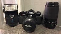 Vivitar V6000 SLR film camera with 28 - 70 mm Lens and 70-210 mm Lens