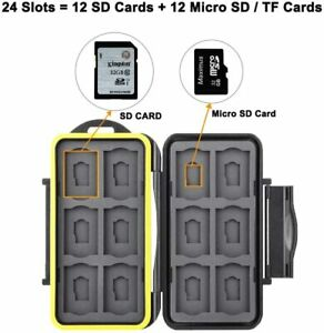 Waterproof Memory Holder Case Storage Box for 12 SD Card and 12 TF/Micro SD Card
