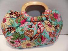 Vera Bradley Tropical Silk Limited Edition Kelly Turquoise Blue Wood Handle