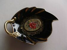 Vintage Ges Gesch Small Blue Oval Dish With Gold Enamel