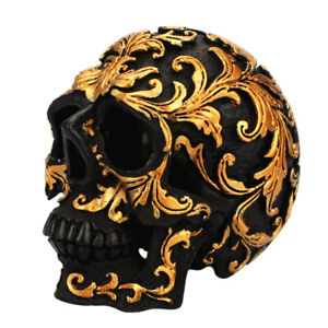 Small Skull Head Collectibles Resin Carving Statue Decor for Tabletop Decors