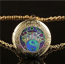 Mushroom Peace Cabochon Glass Gold Plating Chain Locket Pendant Necklace