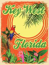 Key West Florida Metal Sign, Parrot, Palm Tree, Den or Gameroom Decor