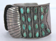 Watch Band, Turquoise, unusual large Old Sterling Silver Vintage Native American