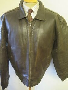 """Vintage Genuine Levi's Leather Flight Bomber Jacket L 42-44"""" Euro 52-54 + Liner"""