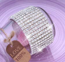 Ladies 10 Row Sparkly Crystal Rhinestone Bracelet Bangle For Women Bride Wedding