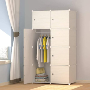 8-Cube Wood Pattern Portable Wardrobe Closet For Hanging Clothes, Ideal Storage