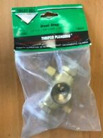 "Dual-Handle Shut-Off Stop Valve, 1/2"" F.I.P X 3/8"" Comp X 1/4"" Comp Solid Brass"