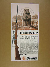1964 Savage 4-M 4M .22 22 Magnum Rifle ground chuck art vintage print Ad