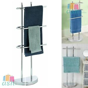 3 Arm 3 Chrome Towel Holder Tier Free Standing Rail Rack Stand Weighted Base