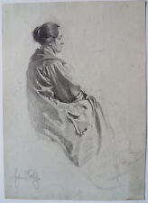 Franz Xaver Wolf,Sitzende Frau, Kohlezeichnung