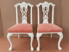 Pair of antique solid Mahogany carved Ball Claw Chippendale Dining Side Chairs A