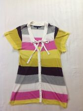 French Connection women's short sleeve wide multi stripe bow detail top size L