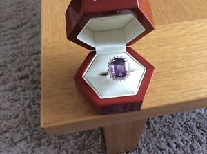 14ct yellow gold amethyst and diamond cluster ring total weight 10.6 grams