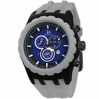 New Men's Joshua & Sons JS59GY Swiss Quartz Chronograph Grey Silicone Watch