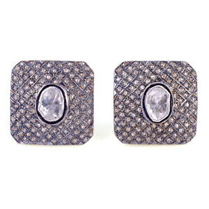 Vintage Look 1.23ct Pave Diamond Cufflinks 925 Sterling Silver Handmade Jewelry
