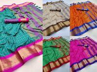 Indian Wedding Cotton Silk Saree Jacquard Woven Sari Blouse Ethnic Wear