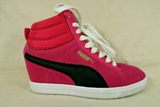 Puma Pink Suede Black Leather Hidden Wedge Athletic Sneakers Shoes Womens 7