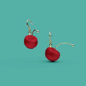 Designer fruit 3D cherry wacky earrings fashion jewelry eardrops
