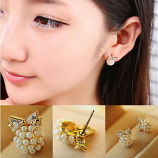 1 Pair Charm Korean Gold Plated Bow Imitation Pearl Crystal Earrings Ear Stud