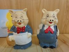 "PIG FIGURINES Set of 2 Blue Overalls Dress Farmer and Wife 3"" Porcelain"