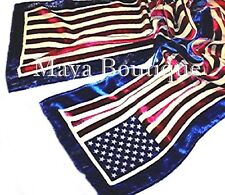 American Flag Scarf Silk Burnout Velvet Maya Matazaro No Fringes New