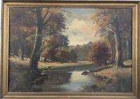 Waldlandschaft mit Bachlauf im Herbst Natur Bilderrahmen Antik 50 x 70 cm