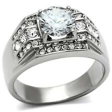 MEN'S PLATINUM/STEEL ALLOY 2.26 CARAT FIERY SIMULATED MOISSANITE RING SIZE 9+3/4