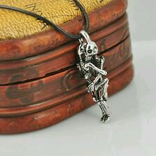 Stylish Infinity Tibet Silver Stainless Steel Skull Pendant Chain Necklace