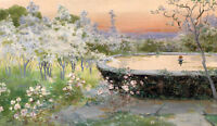 Large art Oil painting garden landscape with spring flowers canvas handpainted