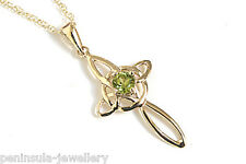 """9ct Gold Peridot Celtic Cross Pendant and 18"""" chain Made in UK Gift Boxed Xmas"""