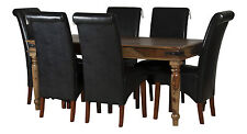 Jali Dining Table Set 6 Chairs Faux Leather in Solid Sheesham Large Rosewood