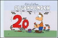 Glückwunsch 20. GEBURTSTAG Karikatur Karrich Postkarte ungelaufen Postcard