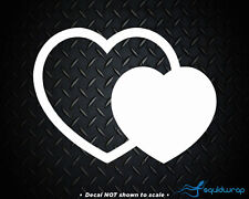 Heart Double Love Girly Car Decal / Laptop Sticker - WHITE 5""
