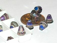 3 pc.Vintage SWAROVSKI Crystal Heliotrope supplies No holes cone flat back 6mm