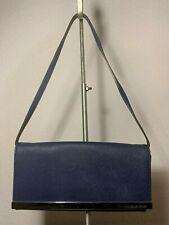 Michael Kors Blue Saffiano Leather Wallet Clutch Slim Shoulder Evening bag  EUC