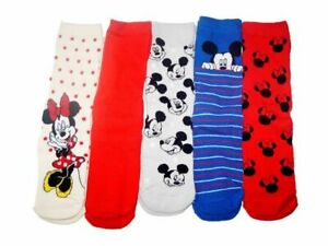 Ladies Disney Mickey Minnie Mouse Socks 5X PAIRS Womens Christms Gift Character