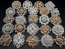 24pc/lot Mixed Gold&Silver Rhinestone Crystal Brooches Pins DIY Wedding Bouquet