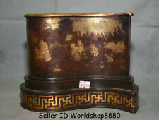 "8.8""Kangxi Marked Old China Purple Bronze Gilt Tongzi Kids Brush Pot Pencil Vase"