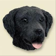 Flat Coated Retriever Dog Head Painted Stone Resin MAGNET