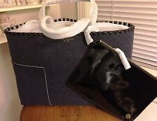 NWT TORY BURCH BLOCK T FELT TOTE--TRUE NAVY/BLACK PATENT WHIPSTITCHING-MSRP $295