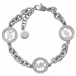 Michael Kors MKJ4730040 Silver Tone Fulton MK Logo Chain Link Bracelet 16cm