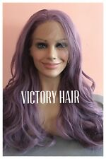 Purple Lace Front Wig . Natural Wavy lace front wig. human Hair Blend