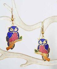 Elegant Rose & Cobalt Cloisonne Enamel Owl Pierced Earrings 1970s vintage