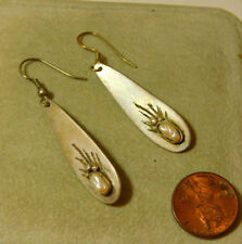 White Biwa Rice Pearl Sterling Silver dangle Hook wire Earrings 9h 55
