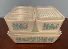 Vintage Pyrex Amish Turquoise Butterprint Refrigerator 8 Pc. Set Fridgies