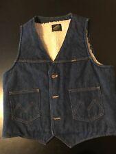 Vintage 80s Maverick Sherpa Lined Denim Jean Pocket Vest Cowboy